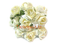 Букет бумажных роз, 1,6см (молочные)