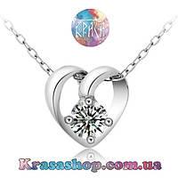 Подвеска сердечко серебро