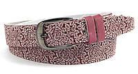 Ремень женский кожаный классика тату цветок розовый с хромированной пряжкой (100061)