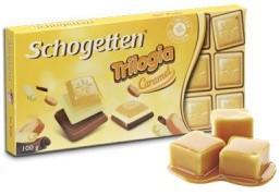 Шоколад Schogetten Trilogia Caramel белый+молочный шоколад с карамелью 100г