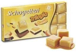 Шоколад Schogetten Trilogia Caramel белый+молочный шоколад с карамелью 100г, фото 2