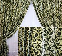 Комплект готовых штор  блэкаут, двусторонний. Цвет зеленый  066ш