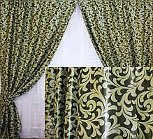Комплект готовых штор  блэкаут, двусторонний. Цвет зеленый  066ш (А)