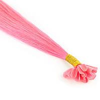 Цветная прядь натуральных волос на кератиновой капсуле для наращивания розовая