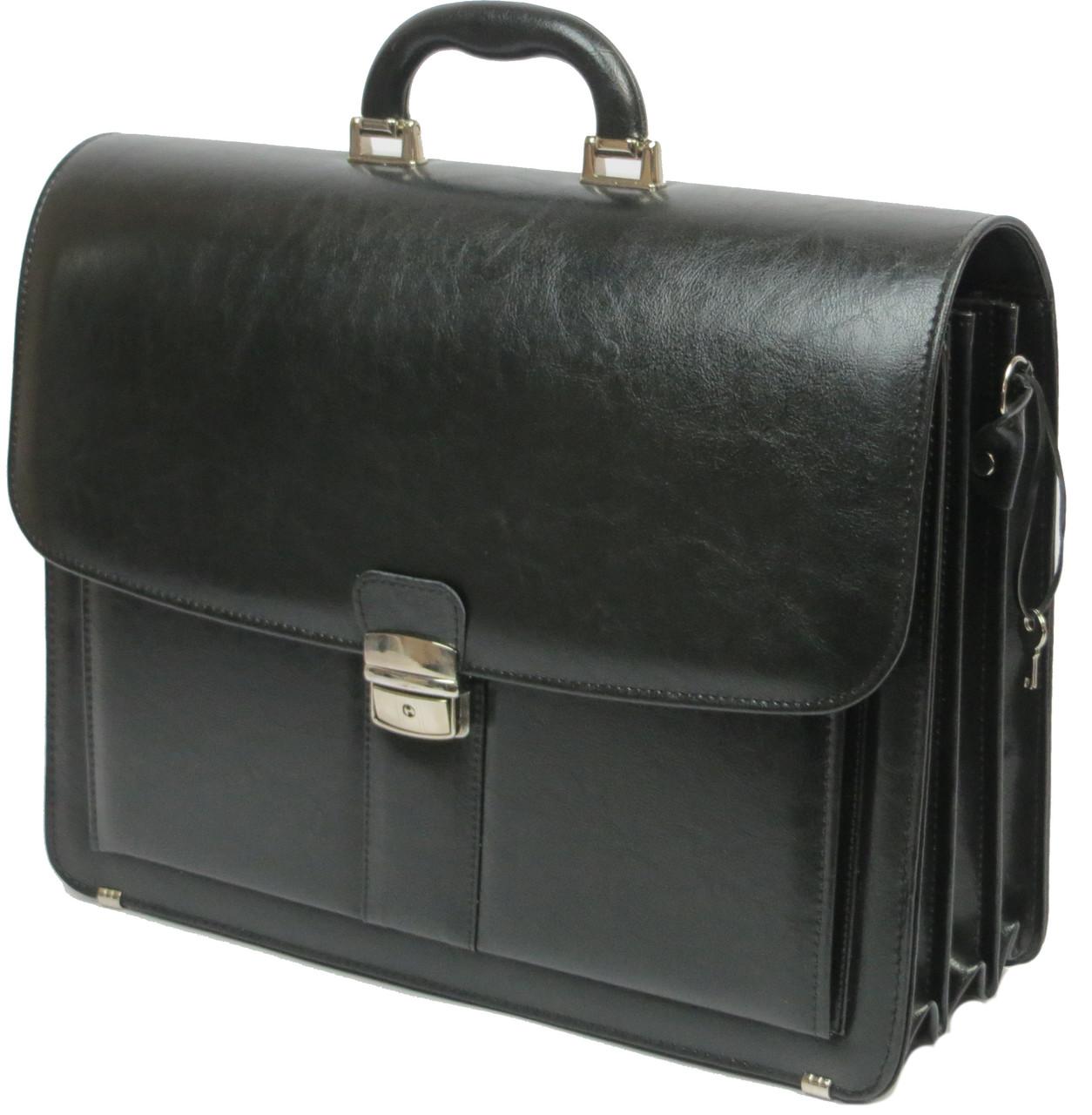 Большой деловой портфель из искусственной кожи на 4 отдела, Jurom Польша 0-41-111 чёрный