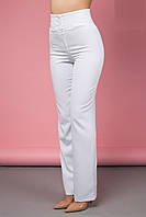 Модные Брюки на Лето с Высокой Талией Белые XS-2XL