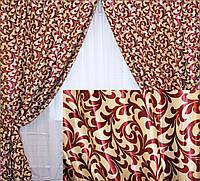 """Комплект готовых штор  блэкаут """"Вензель"""", двусторонний. Цвет бордовый 073ш (Б), фото 1"""