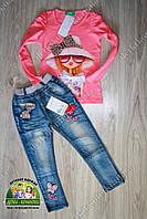 """Костюм для девочки """"Бантики"""" кофточка и джинсы, фото 1"""