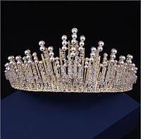 Корона высокая тиара диадема свадебная АУРИКА ГОЛД украшение