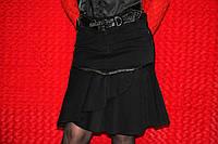Чёрная юбка Sassofono А-силуэт с ремнём