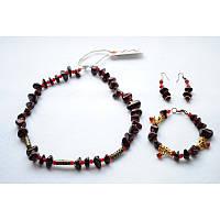 Комплект украшений – бусы, серьги и браслет из натуральной яшмы, фото 1