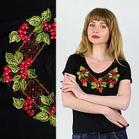 Черная женская футболка вышиванка Калина