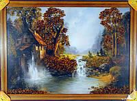 Картина украшена янтарем 50х70см. Пейзаж