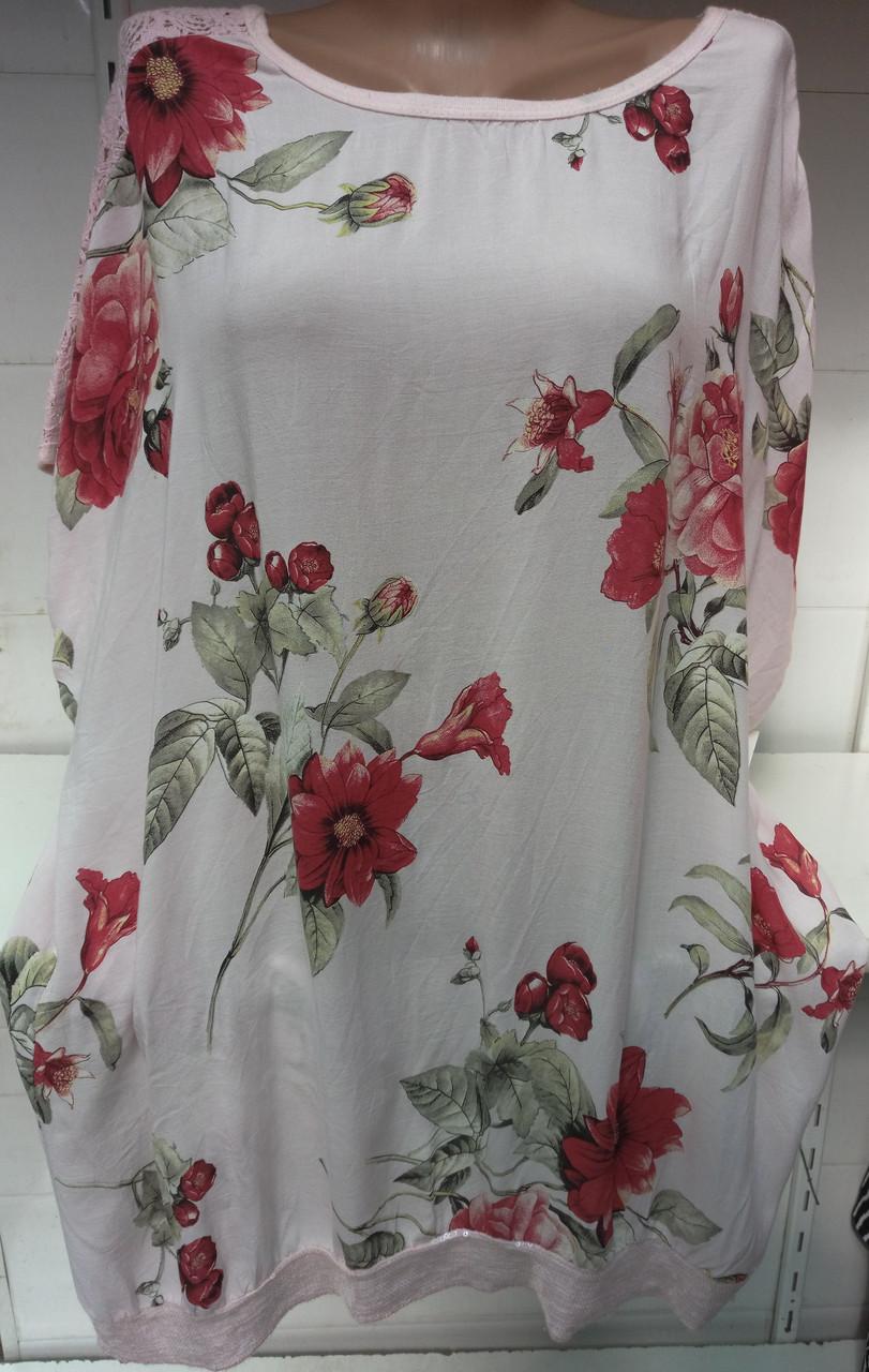 Блуза c цветочным принтом (с ажурными плечами) женская батальная