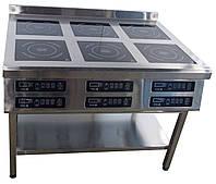 Индукционная плита для ресторана 6ти конфорочная 2,2кВт