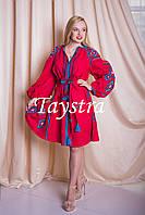 Платье красное вышитое бохо вышиванка лен, этно, стиль бохо шик, вишите плаття вишиванка, Bohemian