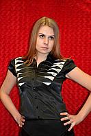 Чёрная женская рубашка с коротким рукавом