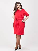 Трикотажное женское платье с поясом