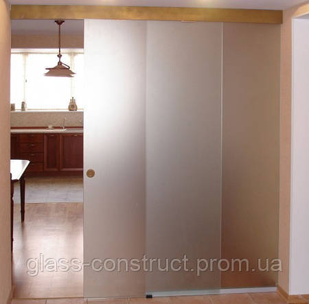 Стеклянная дверь одностворчатая раздвижная закрытого типа из матового закаленного стекла