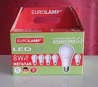 Лампочка LED A60 8W E27 4000К Яркий свет Набор 6в1