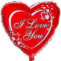 """Шар с рисунком 18"""" сердца на красном фоне с гелием"""