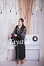 Черное стильное вечернее платье  бохо вышиванка лен,этно,бохо шик,вишите плаття,на свадьбу, выпускное платье, фото 3