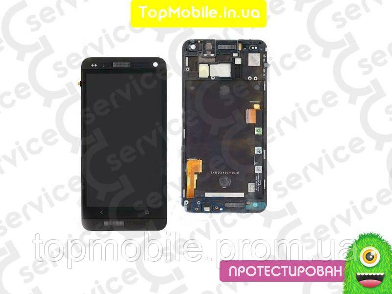 Дисплей HTC 801e One M7  /801n + сенсор черный ( модуль, стекло)