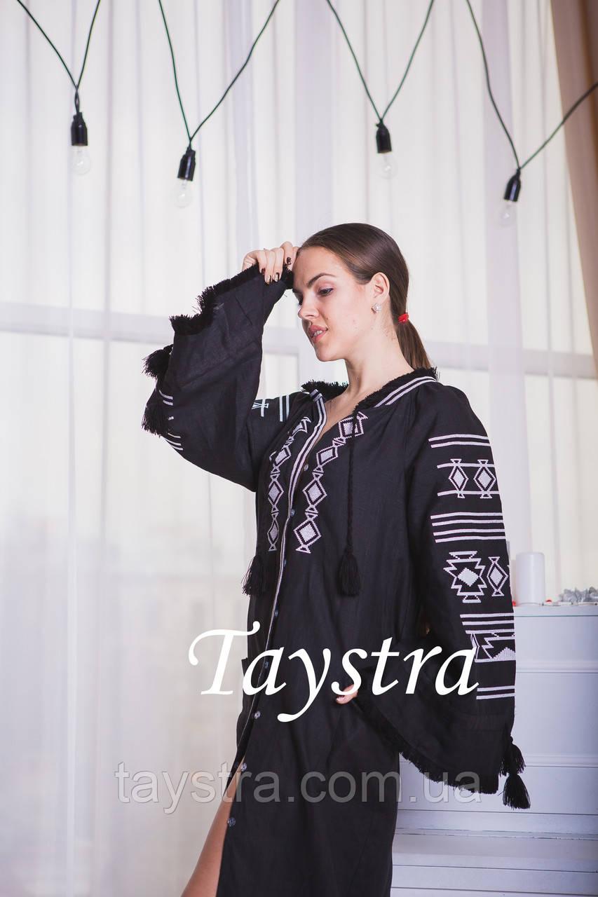 477eb209021 Черное стильное вечернее платье бохо вышиванка лен