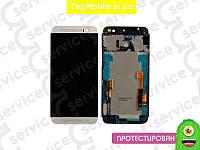 Модуль HTC One E8 Dual Sim   черный, с передней панелью серебристого цвета (дисплей + сенсор)