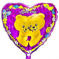 """Шар с рисунком 18"""" love me медвежата с гелием"""