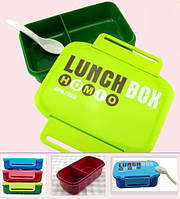 Ланч - бокс с ложкой, Контейнер для продуктов, бутербродов. Зеленый