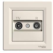 Розетка телевизионная - радио TV-R проходная 8 dB, крем, Sсhneider Electric Asfora Шнайдер Асфора