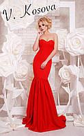 """Элегантное женское длинное платье силуэт """"рыбка"""", с красивым пышным шлейфом. Цвет красный"""