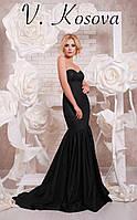 """Элегантное женское длинное платье силуэт """"рыбка"""", с красивым пышным шлейфом. Цвет черный"""