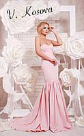 """Элегантное женское длинное платье силуэт """"рыбка"""", с красивым пышным шлейфом. Цвет розовый"""