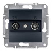 Розетка телевизионная - радио TV-R проходная 4 dB, антрацит Sсhneider Electric Asfora Шнайдер Асфора
