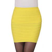 Мини юбка Резинка. Желтая.