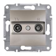Розетка телевизионная - радио TV-R проходная 4 dB, бронза Sсhneider Electric Asfora Шнайдер Асфора