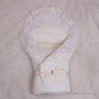 """Нарядный конверт-одеяло """"Волшебство"""", молочный, лето, фото 1"""