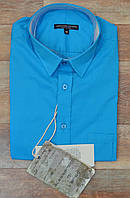 Красивая бирюзовая рубашка с коротким рукавом. Италия