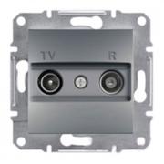 Розетка телевизионная - радио TV-R проходная 8 dB, сталь, Sсhneider Electric Asfora Шнайдер Асфора