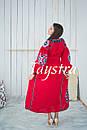 Платье красное вышитое бохо вышиванка лен, этно, стиль бохо шик, вишите плаття вишиванка, Bohemian, фото 4