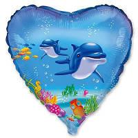 """Шар с рисунком 18"""" дельфины с гелием"""