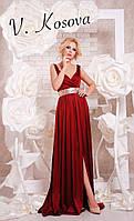 Элегантное женское платье в пол с открытой спинкой, пояс украшен пайетками материал шелк. Цвет бордо