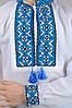 Дитяча вишиванка для хлопчика біла довгий рукав бавовна (Україна), фото 4