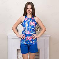 Комплект-тройка женский: футболка, бриджи и шорты с принтом Цветы Lady Турция ld7085 женская одежда для дома