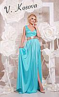 Элегантное платье в пол с открытой спинкой, пояс украшен пайетками материал шелк. Цвет голубой