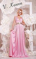 Элегантное платье в пол с открытой спинкой, пояс украшен пайетками материал шелк. Цвет розовый