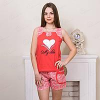 Комплект-двойка женский: майка и шорты с принтом Сердце PePa Турция PP2044 купить домашние комплекты (в упаковке 5 ед.)
