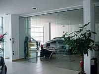 Стеклянная дверь двустворчатая раздвижная закрытого типа из матового закаленного стекла